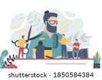 barbershop or beauty salon ...   Shutterstock .eps vector #1850584384