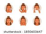 beauty girl take care of her... | Shutterstock .eps vector #1850603647