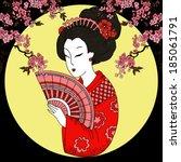 geisha. japanese woman | Shutterstock .eps vector #185061791