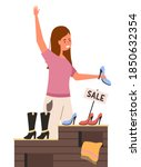 a girl with a shoe in her hands ... | Shutterstock .eps vector #1850632354