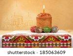 easter cake and easter eggs on... | Shutterstock . vector #185063609