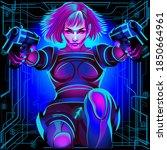 a series of neon horoscope... | Shutterstock .eps vector #1850664961
