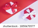 red and white christmas gift...   Shutterstock . vector #1850670577