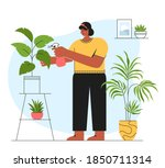 houseplant care concepts. young ... | Shutterstock .eps vector #1850711314