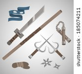 cartoon flat style ninja weapons set: sword, sai, nunchaku and shurikens. vector illustration