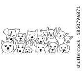 set of cute dogs doodles hand...