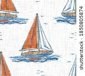 Hand Painted Watercolor  Sail...