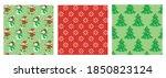 set of christmas seamless... | Shutterstock .eps vector #1850823124