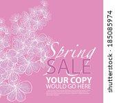 pretty floral spring sale... | Shutterstock . vector #185085974