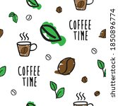 seamless pattern coffee time...   Shutterstock .eps vector #1850896774