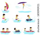 water sports   isolated on... | Shutterstock .eps vector #185090921