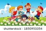 children at ourdoor nature... | Shutterstock .eps vector #1850953354
