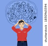 frustrated man with nervous...   Shutterstock .eps vector #1850965594