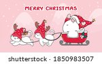 cute cat and santa in sleigh... | Shutterstock .eps vector #1850983507