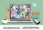 video online conference. video... | Shutterstock .eps vector #1850989981