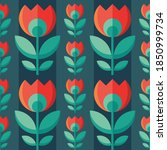 flowers and leaves. mid century ... | Shutterstock .eps vector #1850999734