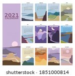 2021 calendar minimalistic... | Shutterstock .eps vector #1851000814