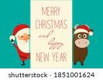 santa and bull   merry... | Shutterstock .eps vector #1851001624
