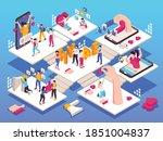 social media hype isometric... | Shutterstock .eps vector #1851004837