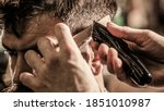 Barber Works With Hair Clipper. ...