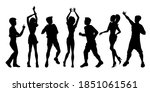 dancing people silhouettes. man ... | Shutterstock .eps vector #1851061561