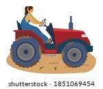 woman farmer riding tractor...   Shutterstock .eps vector #1851069454