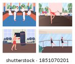 gym training flat color vector... | Shutterstock .eps vector #1851070201