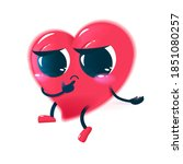red sad heart character. cute...   Shutterstock .eps vector #1851080257