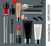 Makeup set with collection of make up cosmetics and accessories, vector illustration.