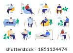 working at home. home office.... | Shutterstock .eps vector #1851124474