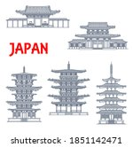 Japan Landmarks Icons  Temples...