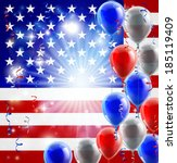 A patriotic American USA 4th July or veterans day background with red white and blue party balloons - stock vector
