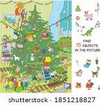 children decorate the tree for...   Shutterstock .eps vector #1851218827