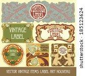 vector vintage items  label art ... | Shutterstock .eps vector #185123624