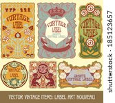 vector vintage items  label art ... | Shutterstock .eps vector #185123657
