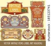 vector vintage items  label art ... | Shutterstock .eps vector #185123741