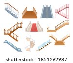 wooden and metal staircase with ... | Shutterstock .eps vector #1851262987
