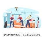 builders male team in uniform ... | Shutterstock .eps vector #1851278191