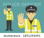 isolated police officer makes a ... | Shutterstock .eps vector #1851293491
