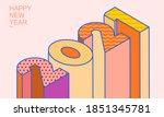 2021 isometric 3d letters ... | Shutterstock .eps vector #1851345781