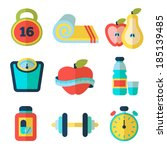 set of fitness flat icons.