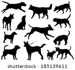 Stock vector dogs vector silhouettes 185139611