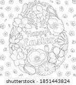 easter flowers egg black and... | Shutterstock .eps vector #1851443824