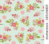 beauty  seamless floral pattern | Shutterstock .eps vector #185146805