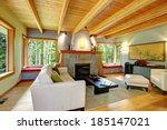 Blend Of Log Cabin Interior...
