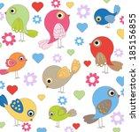 cute birds seamless   Shutterstock .eps vector #185156855