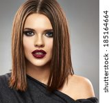 beautiful model with straight... | Shutterstock . vector #185164664