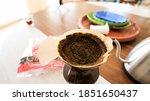 drop hand drip coffee  beans in ... | Shutterstock . vector #1851650437