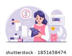 young woman showing wallet with ... | Shutterstock .eps vector #1851658474