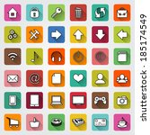 set of colored square flat... | Shutterstock . vector #185174549